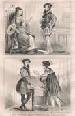 Stich von Französische Mode und Militärische Kostüme - 16. Jahrhundert - Adel - Admiral - Königliche Gericht - Franz I, König von Frankreich (1530)