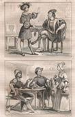 Grabado de Moda Francesa y Trajes Militares - Estilo Siglo 16 / XVI - Burguesía - Pueblo - Corte del Rey de Francia - Francisco I (1540)