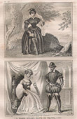 Stich von Französische Mode und Militärische Kostüme - 16. Jahrhundert - Maria Stuart - Renaudie - Königliche Gericht - Franz II, König von Frankreich (1560)