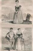 Stich von Französische Mode und Militärische Kostüme - 16. Jahrhundert - Bürgerinnen - Königliche Gericht - Franz II, König von Frankreich (1560)