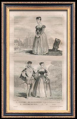 Französische Mode und Militärische Kostüme - 16. Jahrhundert - Bürgerinnen - Königliche Gericht - Franz II, König von Frankreich (1560)
