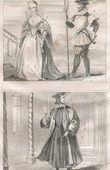 French Fashion and Military Costumes - 16th Century Style XVI - Court Lady - Bodyguard - Court of the King of France - Henry III (1580)