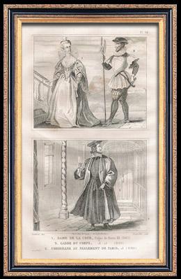 Französische Mode und Militärische Kostüme - 16. Jahrhundert - Frau des Gerichtshofes - Königliche Gericht - Leibgarde - Heinrich III, König von Frankreich (1580)