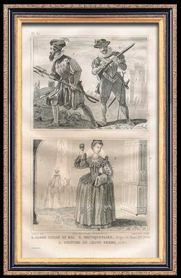 Franz�sische Mode und Milit�rische Kost�me - 16. Jahrhundert - Schweizergarde - Musketier - K�nigliche Gericht - Heinrich III, K�nig von Frankreich (1580)