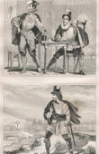French Fashion and Military Costumes - 16th Century Style XVI - Young Lords - Country Gentleman - Court of the King of France - Henry III (1575)