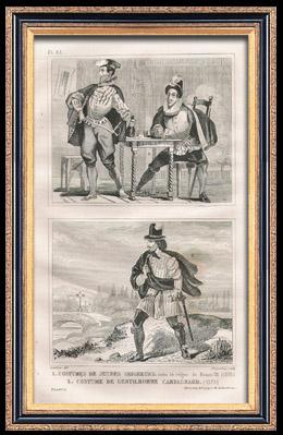 Französische Mode und Militärische Kostüme - 16. Jahrhundert - Junger Herren - Ländliche Edelmannkleidung - Königliche Gericht - Heinrich III, König von Frankreich (1575)