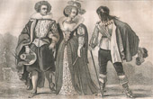 French Fashion and Military Costumes - 17th Century Style XVII - Court of the King of France - Louis XIII (1620)