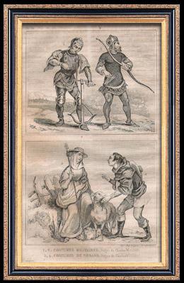 Französische Mode und Militärische Kostüme - 14. Jahrhundert - Königliche Gericht - Karl VI, König von Frankreich (1390 / 1395)