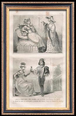 Franz�sische Mode und Milit�rische Kost�me - 15. Jahrhundert - Johann II., Herzog von Alen�on - Marie de Fayel - K�nigliche Gericht - Karl VII, K�nig von Frankreich (1430)