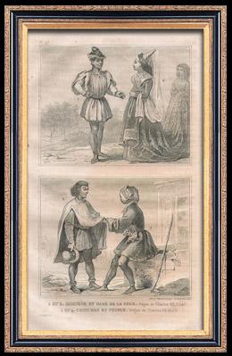 Franz�sische Mode und Milit�rische Kost�me - 15. Jahrhundert - K�nigliche Gericht - Karl VII, K�nig von Frankreich (1445)