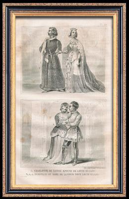 Französische Mode und Militärische Kostüme - 15. Jahrhundert - Charlotte von Savoyen - Königliche Gericht - Ludwig XI, König von Frankreich (1465)