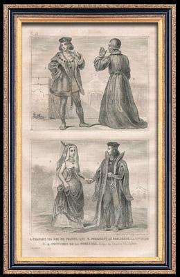 Französische Mode und Militärische Kostüme - 15. Jahrhundert - Adel - Noblesse - Königliche Gericht - Karl VIII, König von Frankreich (1490)