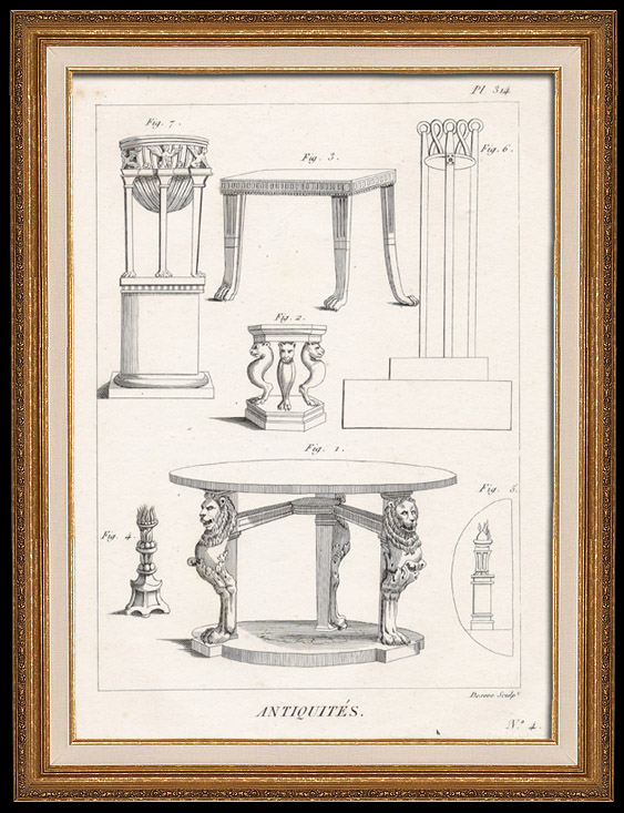 Antique Prints & Drawings | Plate 314 of the Methodical Encyclopedia - Antiquities - Ancient Greece - Ancient Rome - Ancient Egypt - Art and Pieces of Furniture | Copper engraving | 1786
