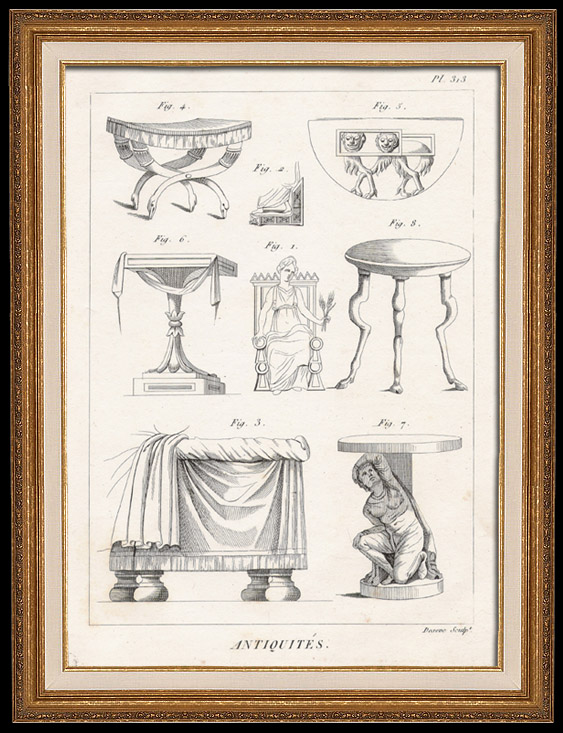 Antique Prints & Drawings   Plate 313 of the Methodical Encyclopedia - Antiquities - Ancient Greece - Ancient Rome - Ancient Egypt - Art and Pieces of Furniture   Copper engraving   1786