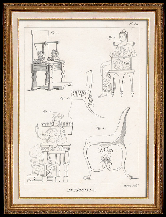 Antique Prints & Drawings | Plate 312 of the Methodical Encyclopedia - Antiquities - Ancient Greece - Ancient Rome - Ancient Egypt - Art and Pieces of Furniture | Copper engraving | 1786