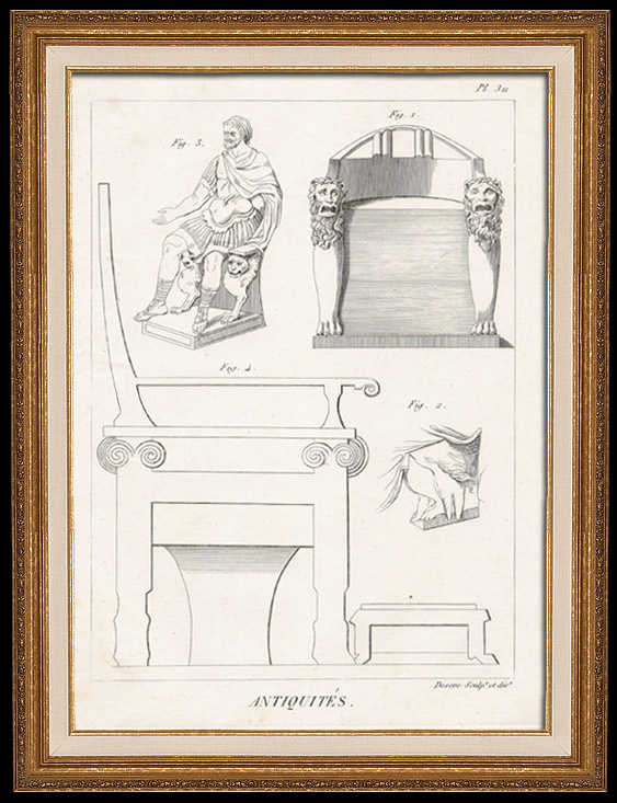 Antique Prints & Drawings | Plate 311 of the Methodical Encyclopedia - Antiquities - Ancient Greece - Ancient Rome - Ancient Egypt - Art and Pieces of Furniture | Copper engraving | 1786