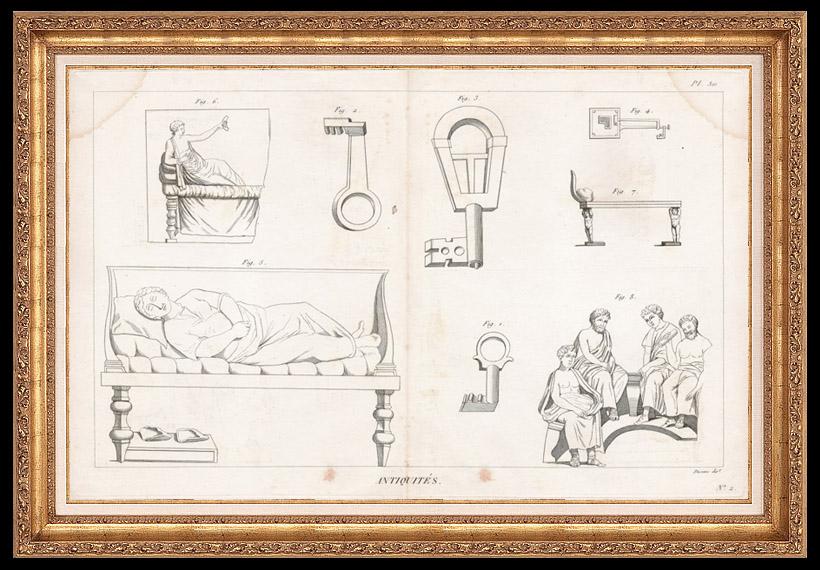 Grabados & Dibujos Antiguos   Plancha 310 de la Enciclopedia Metódica - Las Antigüedades - Antigua Grecia - Antigua Roma - Antiguo Egipto - Arte y Muebles   Grabado calcográfico   1786