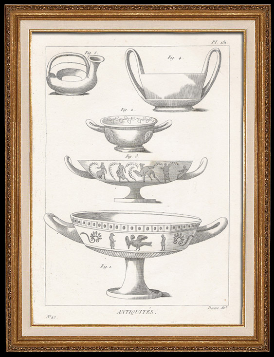 Antique Prints & Drawings   Plate 181 of the Methodical Encyclopedia - Antiquities - Ancient Greece - Ancient Rome - Ancient Egypt - Art - Vases and Ceramics   Copper engraving   1786