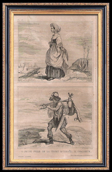 Gravures Anciennes & Dessins | Modes et Costumes - Terre Sainte - Palestine - Douze Tribus d'Israël - Jeune Fille de la Tribu d'Israël - Chasseur | Taille-douce | 1834