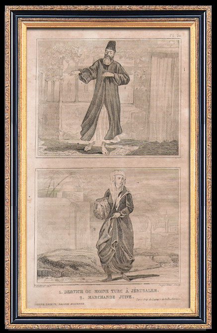 Antique Prints & Drawings   Fashion and Costumes - The Holy Land - Palestine - Twelve Tribes of Israel - Dervish or Turkish Monk in Jerusalem - Jewish Saleswoman   Intaglio print   1834
