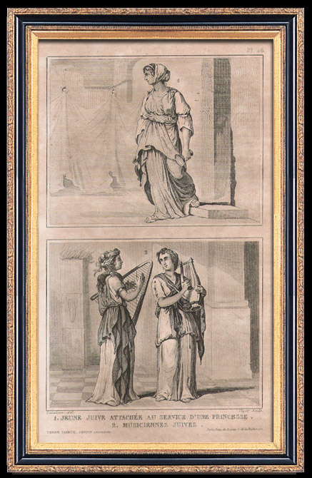Antique Prints & Drawings   Fashion and Costumes - The Holy Land - Palestine - Twelve Tribes of Israel - Young Jewish Servant of a Princess - Jewish Musicians   Intaglio print   1834