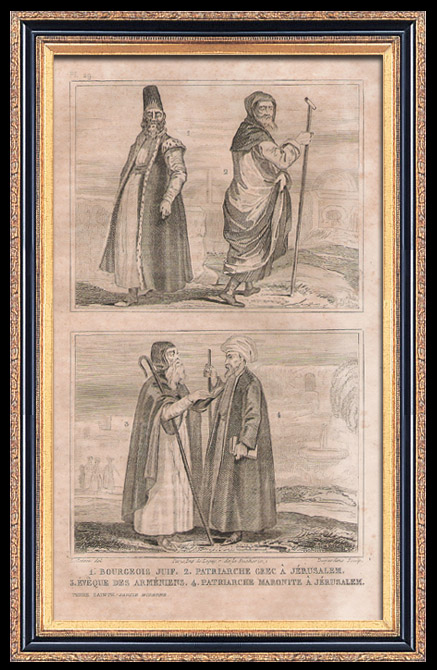 Antique Prints & Drawings | Fashion and Costumes - The Holy Land - Palestine - Israel - Jewish Bourgeois - Greek Patriarch in Jerusalem - Bishop of the Armenians - Maronite Patriarch in Jerusalem | Intaglio print | 1834