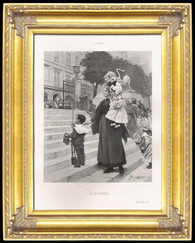 Antique Prints & Drawings   Alsatian Woman with her Children - Alsace (Joan Berg)   Photogravure   1893
