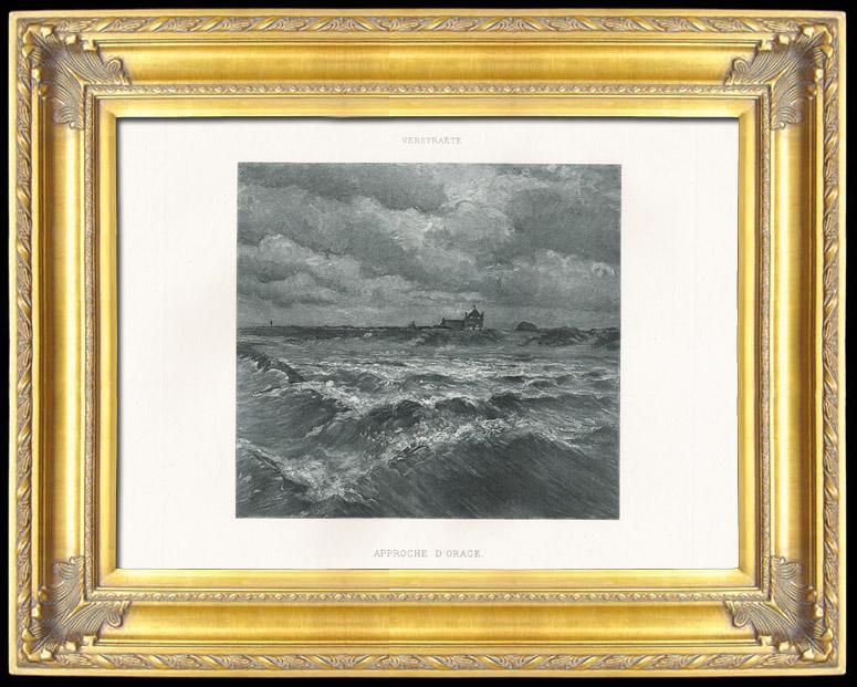 Gravures Anciennes & Dessins   Mer - Approche d'orage (Théodore Verstraëte)   Photogravure   1895