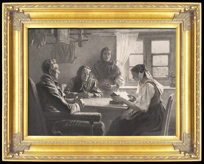 Gravures Anciennes & Dessins | Lecture de la Bible (Georges Bretegnier) | Photogravure | 1892