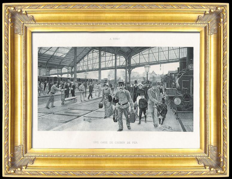 Gravures Anciennes & Dessins   Une Gare de Chemin de Fer (Adolphe Gustave Binet)   Photogravure   1891
