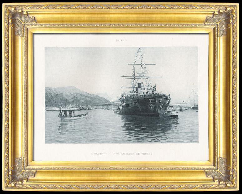 Gravures Anciennes & Dessins   Cuirassé Russe Empereur Nicolas 1er - L'Escadre Russe en Rade de Toulon en 1893 (Eugène Dauphin)   Photogravure   1894