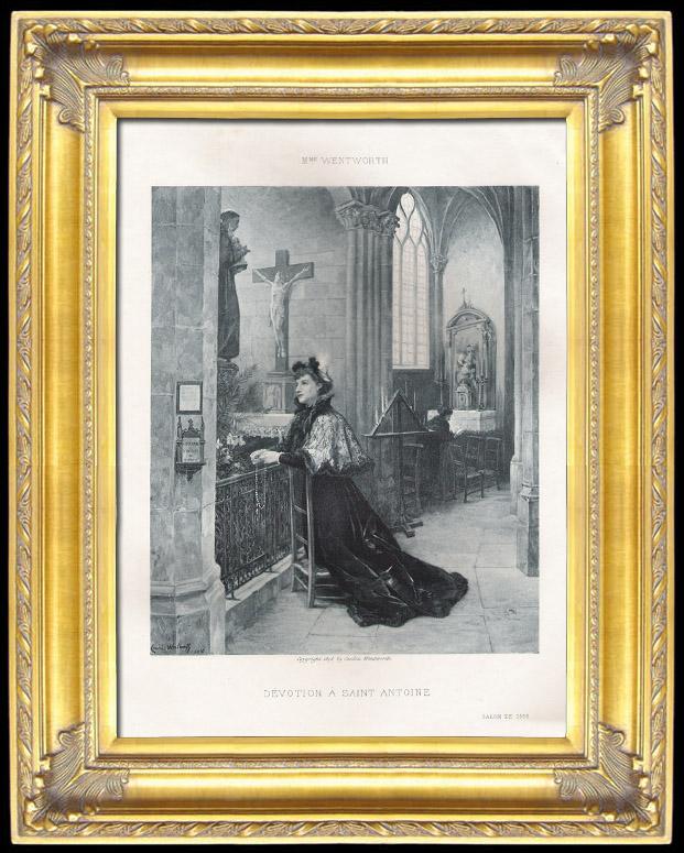 Gravures anciennes d votion saint antoine de padoue for Miroir st antoine