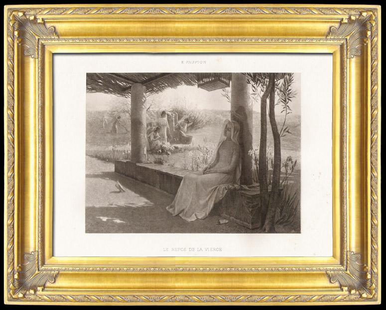 Gravures Anciennes & Dessins   Anges - Le Repos de la Vierge (Edouard Jerôme Paupion)   Photogravure   1896