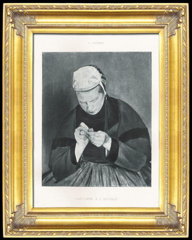 Grabados & Dibujos Antiguos | Mujer de Bretaña - Bretona con una Aguja Costura (Léopold Stevens) | Fotograbado | 1892
