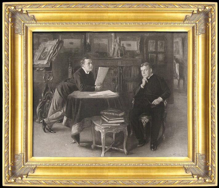 Gravures Anciennes & Dessins | Comédiens - Portrait de Coquelin ainé et de son fils Jean Coquelin (Emile Friant) | Photogravure | 1891