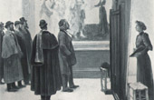 In the Louvre - In front of a Fresco of Boticelli (Norbert Goeneutte)