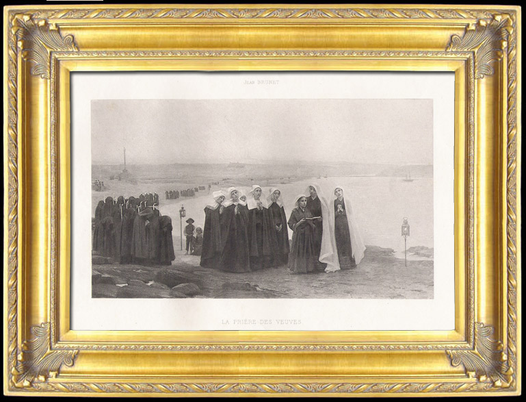 Antique Prints & Drawings | Pilgrimage - Religious Procession - The Prayer of the Widows (Jean Brunet) | Photogravure | 1895