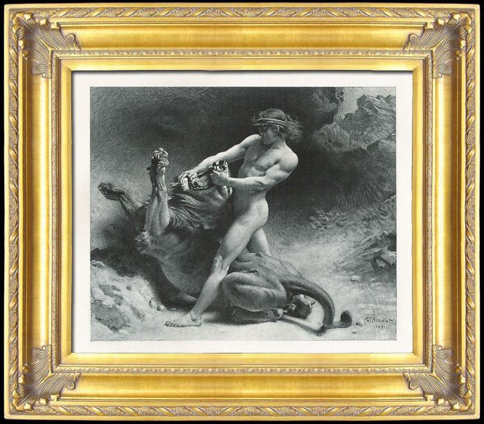 Gravures Anciennes & Dessins   Tanakh - Bible Hébraïque - Chimchon - Le Combat de Samson avec le Lion (Léon Bonnat)   Photogravure   1891