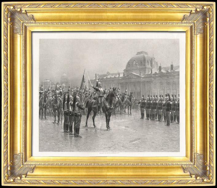 Gravures Anciennes & Dessins   Régiments de Cavalerie - Cuirassiers - Présentation de l'étendard aux Recrues (Louis Auguste Georges Loustaunau)   Photogravure   1892