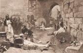Stich von Napoleon - Die Schlacht bei Aspern - Tod des Marschalls Lannes (Paul Emile Boutigny)
