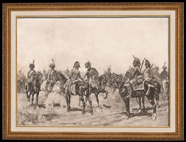 Gravures Anciennes & Dessins | Guerres Napoléoniennes - Armée - Cavalerie Legère - Hussards et Dragons (Eugène Meissonier) | Aquatinte | 1884