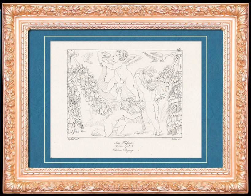 Antique Prints & Drawings | Mythology - Monsters - Angels - Italian Renaissance - Children Playing (Raffaello Sanzio or Raphael) | Copper engraving | 1805
