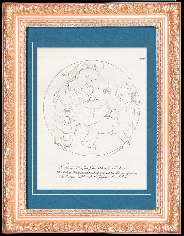 Antique Prints & Drawings | Italian Renaissance - Madonna della Seggiola - The Virgin Child with the Infant Saint John the Baptist (Raffaello Sanzio or Raphael) | Copper engraving | 1805