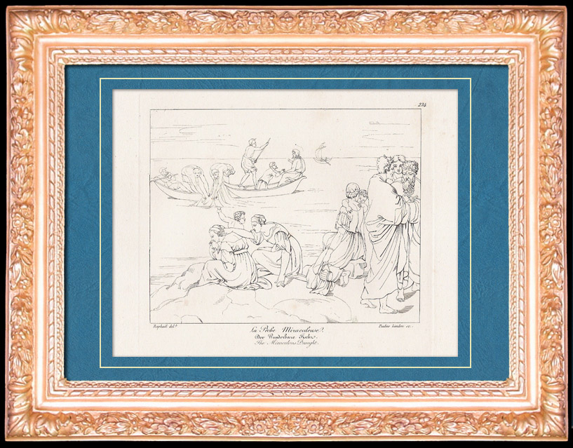 Antique Prints & Drawings | Mythology  - Ancient Greece - Italian Renaissance - The Miraculous Draught (Raffaello Sanzio or Raphael) | Copper engraving | 1805