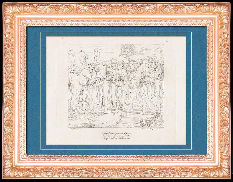 Gravures Anciennes & Dessins   Renaissance Italienne - Bible - Egypte - Joseph Vendu par ses Frères aux Ismaélites (Raffaello Sanzio dit Raphaël)   Gravure sur cuivre   1805