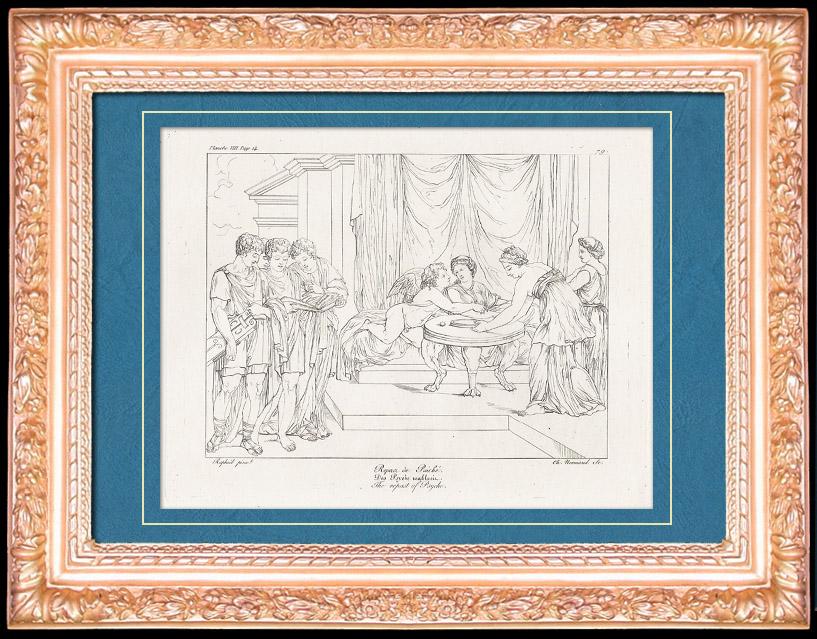 Gravures Anciennes & Dessins   Mythologie - Nymphe - Anges - Renaissance Italienne - Les Amours de Psyché et de Cupidon (Eros) : Le Repas de Psyché (Raffaello Sanzio dit Raphaël)   Gravure sur cuivre   1805