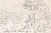 Stich von Mythologie - Italienische Renaissance - Die Geschichte von Amor und Psyche (Cupido) : Venus (Aphrodite) Beherrscht Psyche ihr Die Goldene Vlies Zubringen (Raffaello Sanzio oder Raf