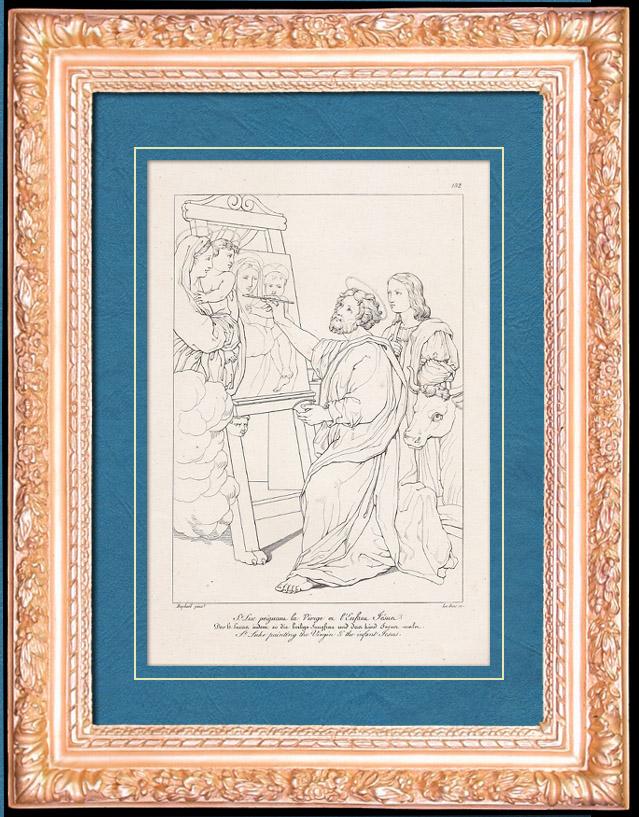 Antique Prints & Drawings | Italian Renaissance - Madonna - Saint Luke Painting the Virgin and the Infant Jesus (Raffaello Sanzio or Raphael) | Copper engraving | 1805