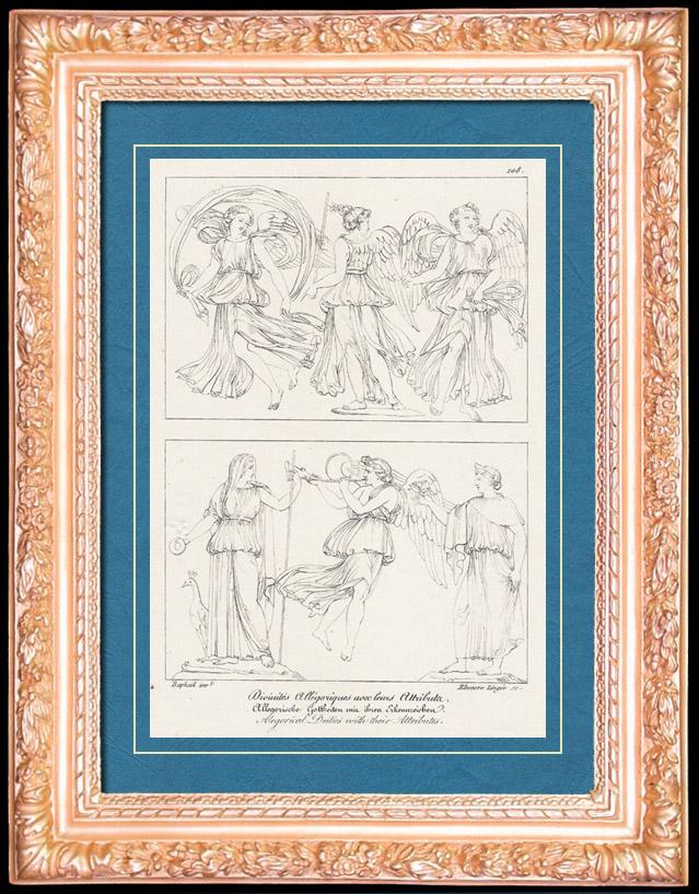 Antique Prints & Drawings   Roman / Greek Mythology - Goddess - Italian Renaissance - Alegorical Deities With Their Attributes (Raffaello Sanzio called Raphael)   Copper engraving   1805