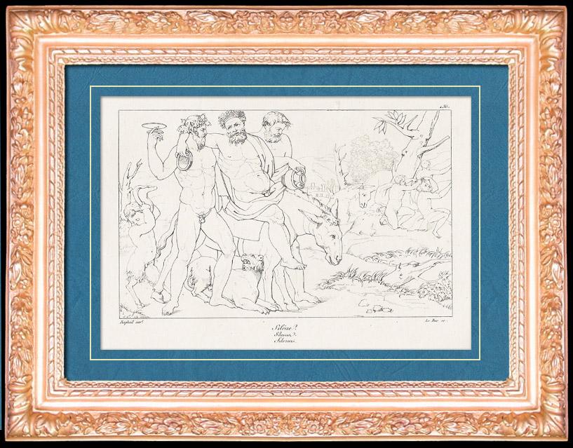 Antique Prints & Drawings | Greek Mythology - Greek Gods - Satyrs - Italian Renaissance - Silenus, Companion of the Wine-god Dionysus (Raffaello Sanzio called Raphael) | Copper engraving | 1805